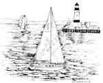 Sailboat and Ligthouse on Lake    per stuk