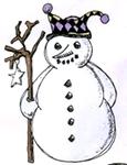 Sneeuwpop met tak    per stuk