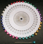 Glaskopspelden rond multicolor 40 stuks    per pak