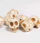 Skull Beads semi-precious stones naturel    per setje