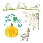 Pumpkin, Cat, Crows & Weg    per set