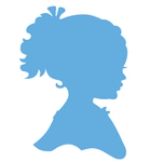 Silhouette girl with ponytail    per stuk