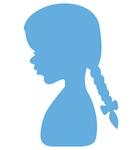 Silhouette girl with braids    per stuk