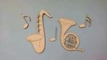 Saxefoon en Hoorn met muzieknoten    per stuk