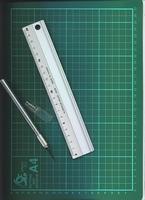 Snijmat met metalen lineaal en snijmesje    per setje