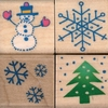 Kerstset met vier stempeltjes   per set