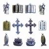 Bedeltjes Geloof  6x Antique Brass & 6x Silver   per setje