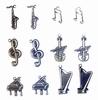 Bedeltjes muziekinstrumenten 6x Antique Brass & 6x Silver