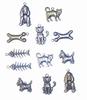 Bedeltjes kat en hond 6x Antique Brass & 6x Silver