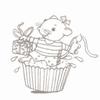 Muisje uit cupcake met kadootje   per stuk