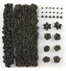 pom poms & flowers set Black   per set