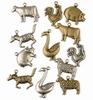 Bedeltjes Boerderij dieren   6x Antique Brass & 6x Silver