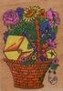 Mand met bloemen en kaartje   per stuk