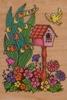 Vogeldhuisje met vogel en bloemen