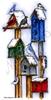 Winter Birdhouses with winter birds   per stuk