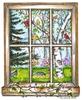 Backyard birds window scene
