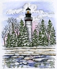 Lighthouse and Spruce trees