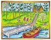 Dock, Canoe, Cabin scene