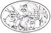 Three Raccoons in Tree oval   per stuk