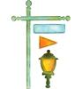 Flagpol w/Lantern & Sign