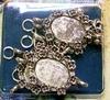 Opwerkschakelset oval flower silver   setje van 5