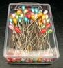 Glaskopspelden rond multicolor 100 stuks   per pak