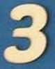 Cijfer 3  4 cm. en 1,5 mm. dik