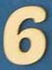 Cijfer 6  4 cm. en 1,5 mm. dik