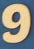 Cijfer 9  4 cm. en 1,5 mm. dik