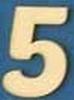 Cijfer 5, 2 cm. en 1,5 mm. dik