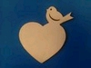 Hart met vogel 17x 15 cm (3mm dik)