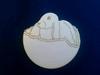 Paashaas in eierdop. 10 x10 cm 3 mm dik houtboard   setje van 3