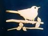 Vogel op 2 takken 15 x 10 cm 3mm dik   per stuk