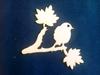 Vogel op takken met bladeren 13 x 16 cm 3mm dik   per stuk