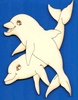 Dolfijnen 12 x 8,5 cm 3 mm dik houtboard   per stuk