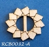 Bewerkte lint gespje  type A ca. 2cm 1,5mm dik van chipboard   per stuk