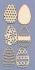 Assortiment Eieren  6 stuks 5,3 cm x 3,1 cm   setje van 6