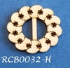 Bewerkte lint gespje  type H ca. 2cm 1,5mm dik van chipboard
