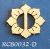 Bewerkte lint gespje  type D ca. 2cm 1,5mm dik van chipboard