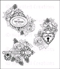 Floral Keys & Locket   per set