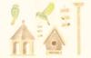 Vogelhuisjes en vogels