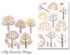 Modern Trees Stamps + Die set   per set