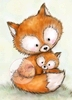 Mummy Fox with Baby   per stuk