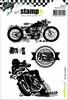 A6 cling stamp: un ride a motos