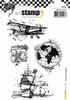 A6 cling stamp: Partir en Voyage