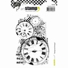 A6 cling stamp: Background Horloges